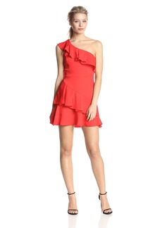 BCBGMAXAZRIA Women's Calinda One Shoulder Ruffle Dress