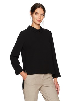 BCBG Max Azria BCBGMAXAZRIA Women's Cecil Woven Collared Top with Flyaway Back  L