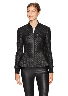 BCBG Max Azria BCBGMAXAZRIA Women's Charles Knit Quilted Faux Leather Jacket  XS