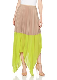 BCBGMAXAZRIA Women's Christy Woven Colorblock Pleated Skirt  L
