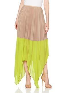 BCBG Max Azria BCBGMAXAZRIA Women's Christy Woven Colorblock Pleated Skirt  M