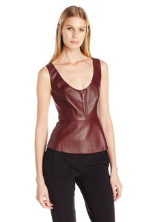 BCBGMAXAZRIA Women's Cladiana V Neck Peplum Top