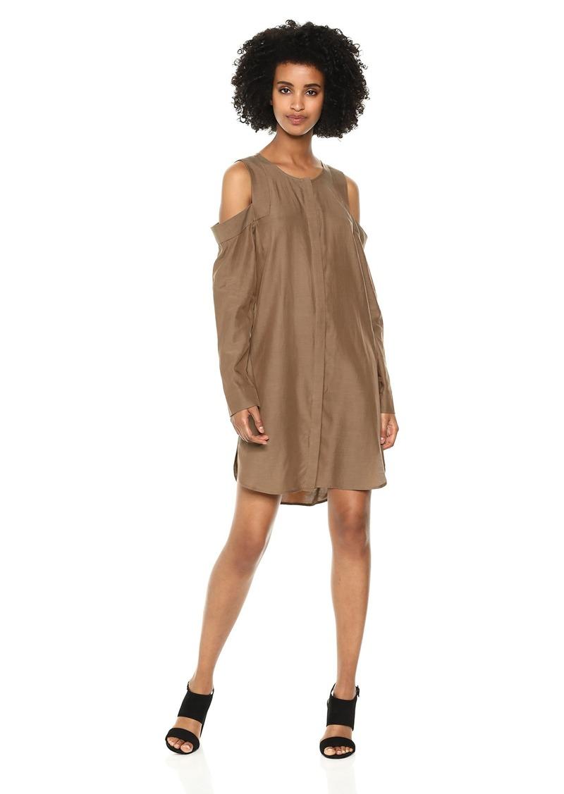 BCBG Max Azria BCBGMAXAZRIA Women's Cold-Shoulder Sueded Dress  L