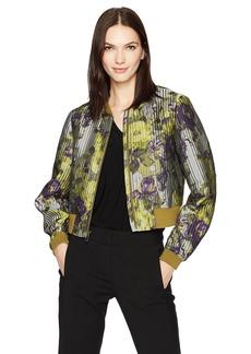 BCBGMAXAZRIA Women's Colin Woven Floral Bomber Jacket  M