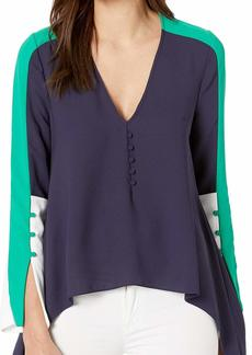 BCBG Max Azria BCBGMAXAZRIA Women's Colorblocked Asymmetric Top  M