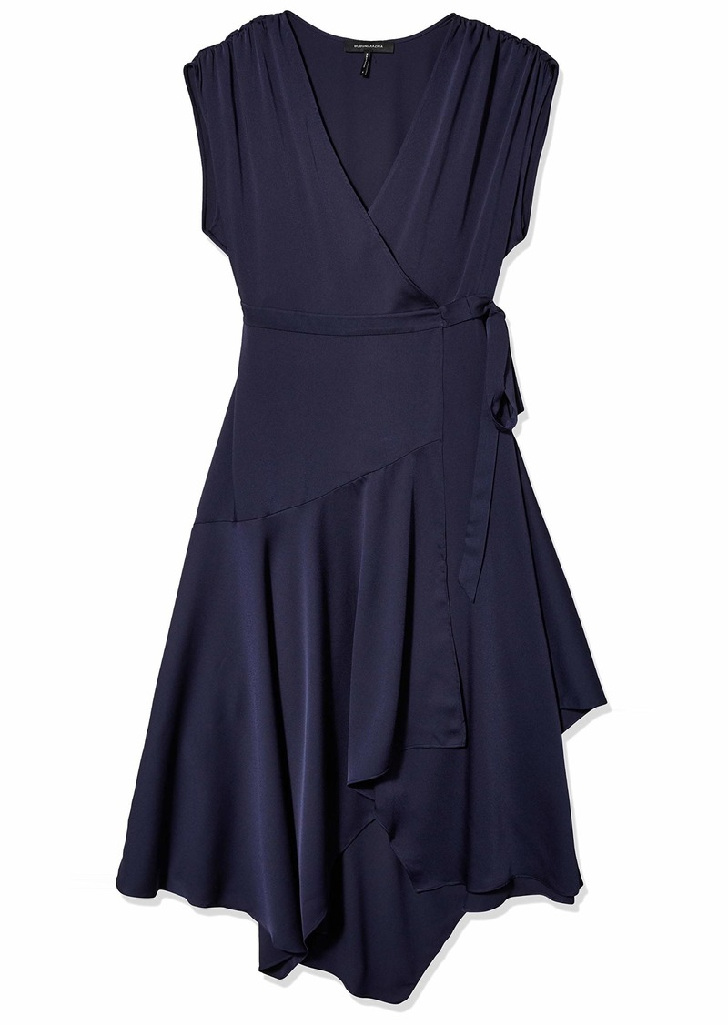 BCBG Max Azria BCBGMAXAZRIA Women's Crepe Satin Wrap Dress  SM (US )