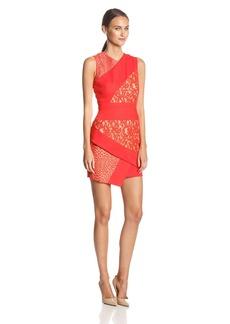 BCBG Max Azria BCBGMAXAZRIA Women's Dalia Lace Colorblock Asymetrical Dress