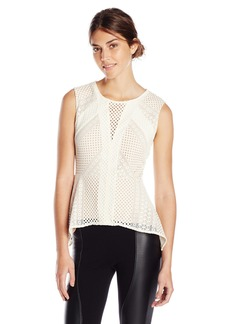 BCBG Max Azria BCBGMAXAZRIA Women's Dalina Stretch Lace Peplum Knit Top