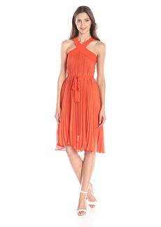 BCBGMAXAZRIA Women's Eloise Sunburst Pleated Halter Dress with Belt