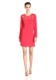 BCBGMAXAZRIA Women's Emilie Lace Yoke Drape Back Dress
