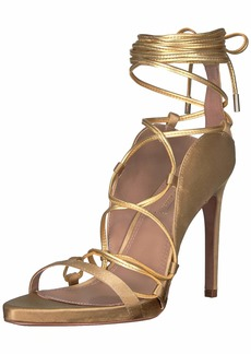 BCBG Max Azria BCBGMAXAZRIA Women's Esme Lace Up Sandal Sandal gold/brushed gold  M US
