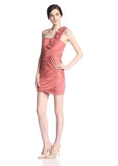 BCBGMAXAZRIA Women's Evangeline One Shoulder Dress Orange