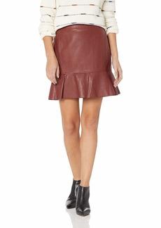 BCBG Max Azria BCBGMAXAZRIA Women's Faux Leather Flounced Skirt hot Chocolate S