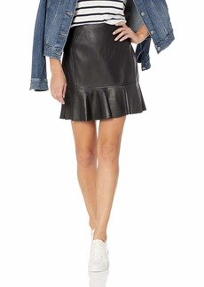 BCBG Max Azria BCBGMAXAZRIA Women's Faux Leather Flounced Skirt  M