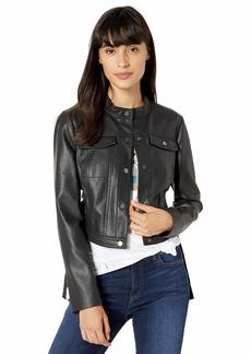 BCBG Max Azria BCBGMAXAZRIA Women's Faux Leather Moto Jacket  S