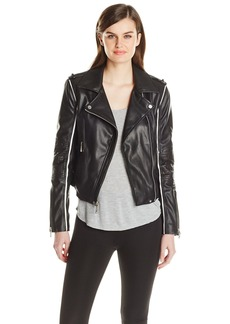BCBG Max Azria BCBGMAXAZRIA Women's Faux Leather Moto Jacket with Contrast Piping