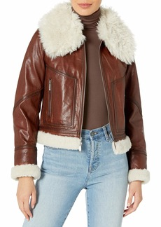 BCBG Max Azria BCBGMAXAZRIA Women's Faux Leather Motorcycle Jacket
