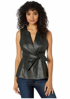 BCBG Max Azria BCBGMAXAZRIA Women's Faux Leather Top  S