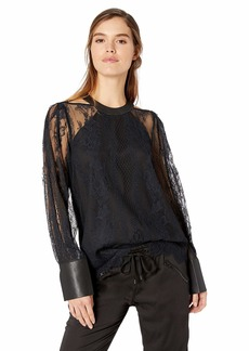 BCBG Max Azria BCBGMAXAZRIA Women's Faux Leather-Trimmed Lace Top  L