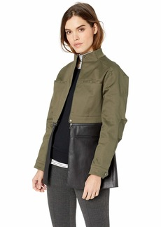 BCBG Max Azria BCBGMAXAZRIA Women's Faux Leather-Trimmed Peplum Jacket