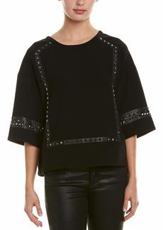 BCBG Max Azria BCBGMAXAZRIA Women's Faux Leather-Trimmed Studded Blouse  S