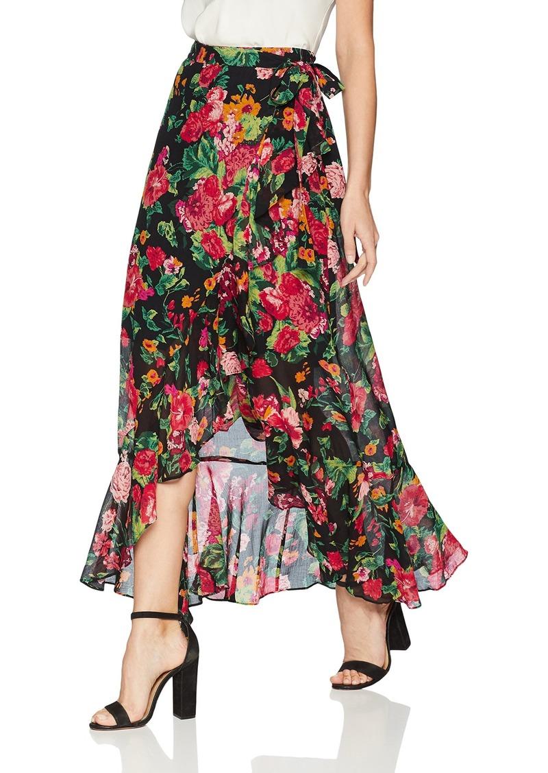 BCBGMAXAZRIA Womens Asymmetrical Satin Maxi Wrap Skirt