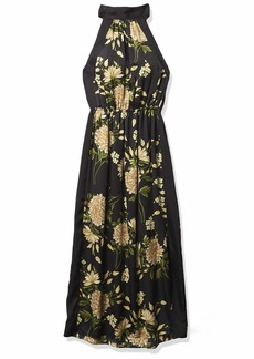BCBG Max Azria BCBGMAXAZRIA Women's Floral Halter Dress Black-Floating Garden XL