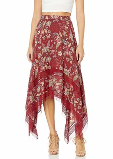 BCBG Max Azria BCBGMAXAZRIA Women's Floral Toile Handkerchief Skirt Deep Red to L