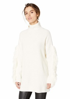 BCBG Max Azria BCBGMAXAZRIA Women's Fringe Turtleneck Tunic Sweater  XS