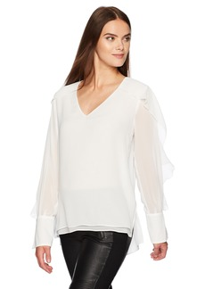 BCBGMAXAZRIA Women's Gael Woven Long Sleeve Top  S