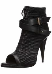 BCBG Max Azria BCBGMAXAZRIA Women's Gia Peep Toe Bootie Boot black/black/black