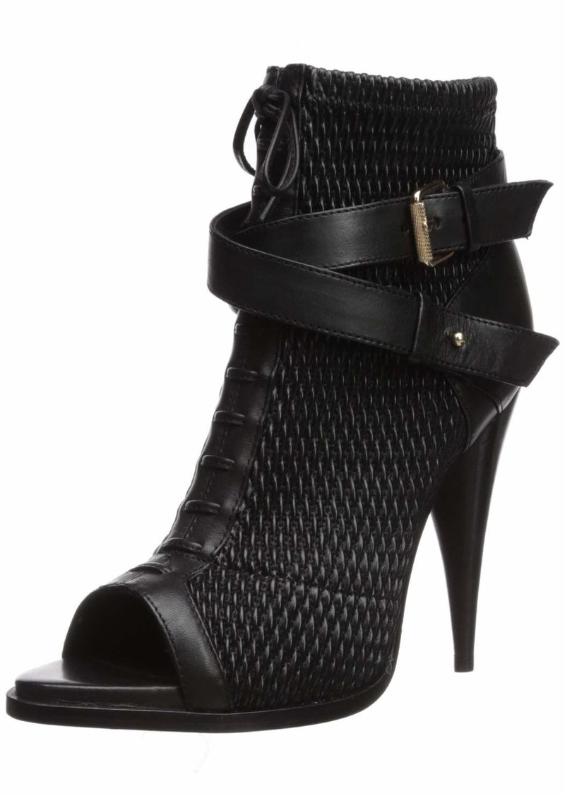 BCBG Max Azria BCBGMAXAZRIA Women's Gia Peep Toe Bootie Boot black/black/black  M US