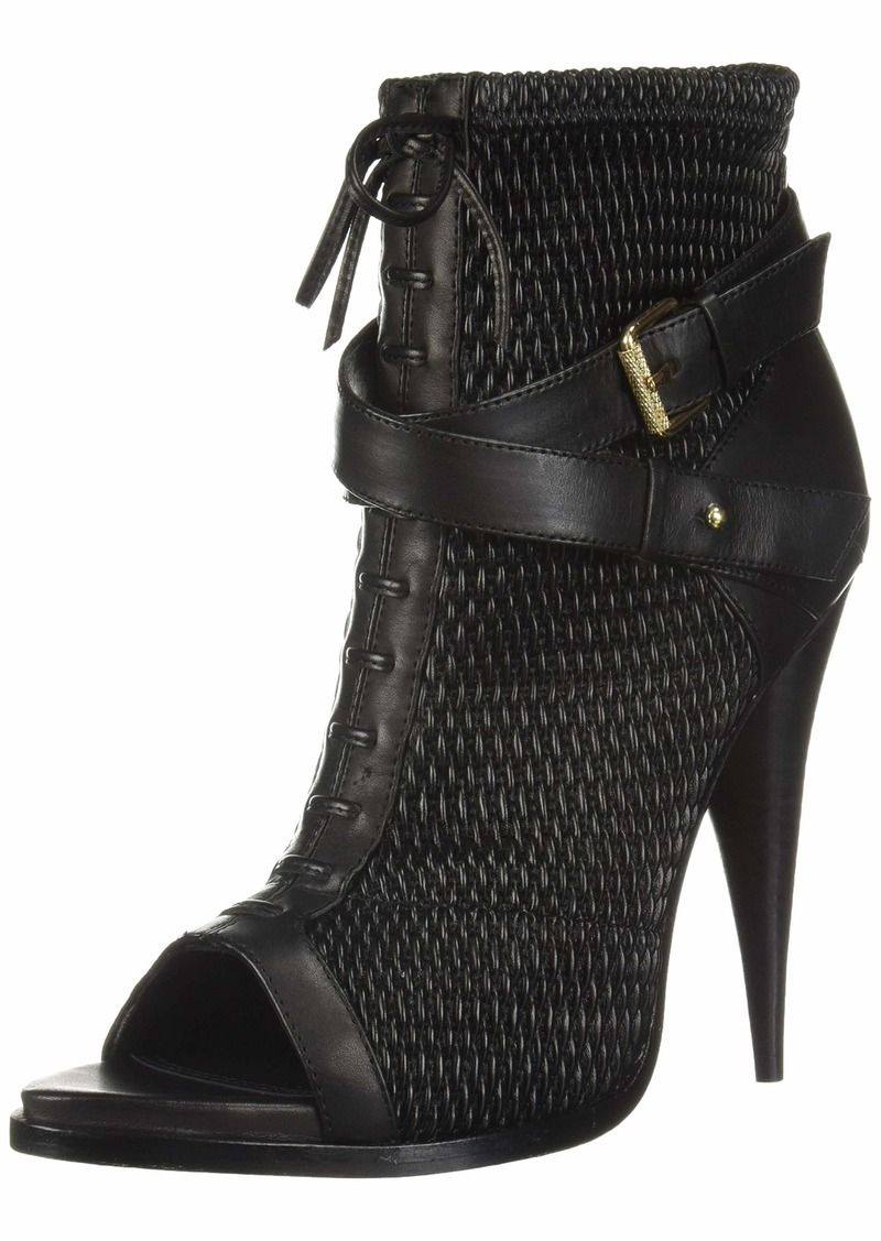 BCBG Max Azria BCBGMAXAZRIA Women's Gia Peep Toe Buckle Bootie Boot black/black/black  M US