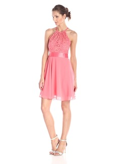 BCBGMAXAZRIA Women's Hayly Lace and Chiffon Halter Dress
