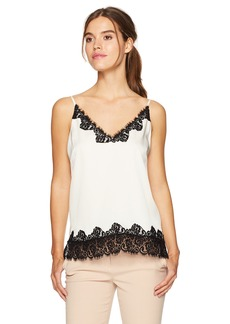BCBGMAXAZRIA Women's Helena Woven Tank with Lace Trim  M