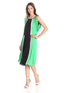 BCBGMAXAZRIA Women's Iona Color Blocked Dress with Pleated Skirt