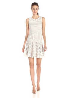 BCBGMAXAZRIA Women's Jalina Lace Blocked Sleeveless Dress