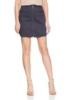 BCBG Max Azria BCBGMAXAZRIA Women's Jania Cotton Zip Front Mini Skirt MEDITERRAN S