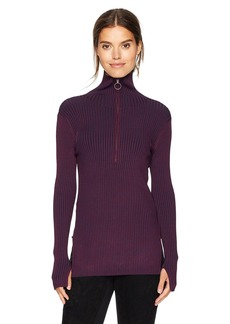 BCBGMAXAZRIA Women's Jaxin Marled Long Sleeve Knit Half Zip  L