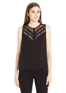 BCBG Max Azria BCBGMAXAZRIA Women's Jay Sleeveless Lace-Yoke Top
