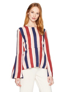 BCBGMAXAZRIA Women's Jeanne Striped Woven Bell Sleeved Top  S