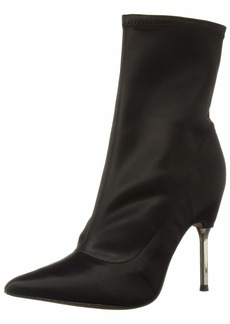 BCBG Max Azria BCBGMAXAZRIA Women's Jolie Bootie Boot black stretch satin