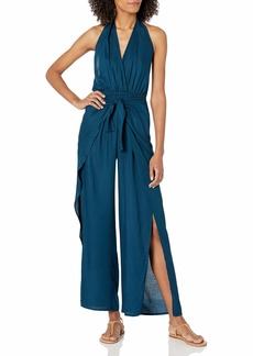 BCBG Max Azria BCBGMAXAZRIA Women's Jumpsuit Swimsuit Cover-Up Ink Blue//wrap Me Up S