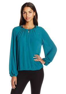 BCBG Max Azria BCBGMAXAZRIA Women's Kaelyn Long Sleeve Embellished Top