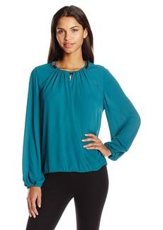 BCBGMAXAZRIA Women's Kaelyn Long Sleeve Embellished Top