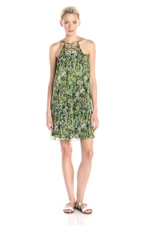 BCBGMAXAZRIA Women's Kaia Two Tiered Dress with Neck Detail