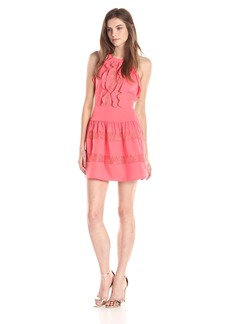 BCBGMAXAZRIA Women's Katrine Halter Lace Blocked Dress