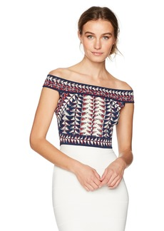 BCBGMAXAZRIA Women's Kayann Jacquard Knit Crop Top Dark Midinight CO L