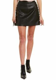 BCBG Max Azria BCBGMAXAZRIA Women's Lace Up Pleather Mini Skirt  M