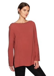BCBGMAXAZRIA Women's Laycie Woven Off The Shoulder Snap Detail Top  M